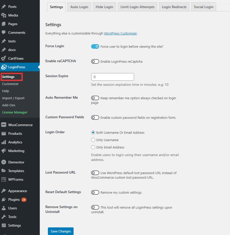 loginpress xmlrpc settings
